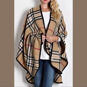 Accessories - CAMEL WOOL FEEL PLAID RUANA PONCHO